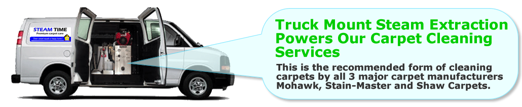 Truck mount steam extraction powers our carpet cleaning service.